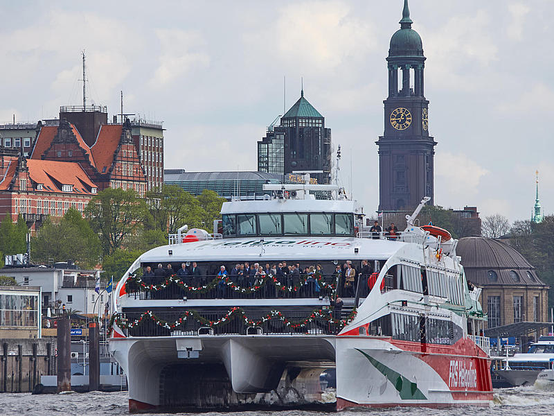 Christening of the high speed craft Halunder Jet in the port of Hamburg.