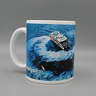 Side view Helgoline coffee mug blue