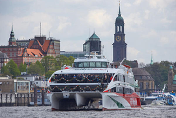 Halunder Jet on its birthday in the port of Hamburg.